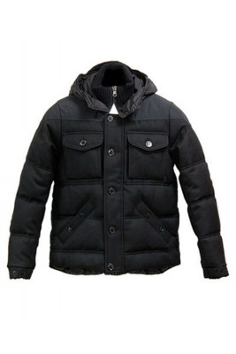 Moncler Republique Down Jacket Men Hooded Brief Paragraph Black