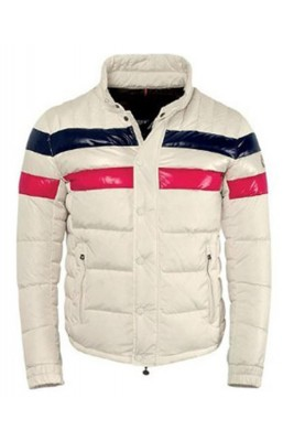 Moncler Striped Technical Menuire Mens Jacket Beige Short