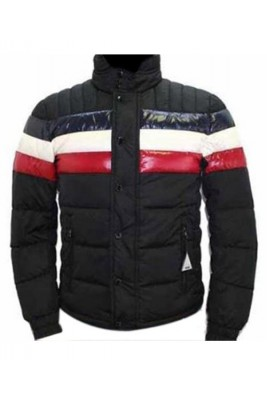 Moncler Striped Technical Menuire Mens Jacket Black Short
