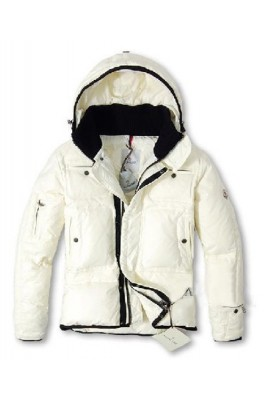 Moncler Top Quality Down Jackets Men With Hooded Zip White