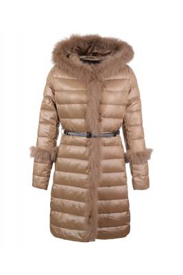 2016 Moncler Coats Womens Hooded Fur Collar Khaki