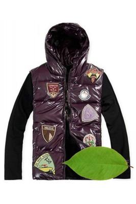Moncler Discount Down Vest For Men Multiple Logo Purple