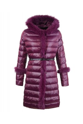 2016 Moncler Coats Womens Hooded Fur Collar Purple