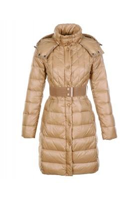 Moncler Cheap Down Coats Women Belt Decoration Khaki